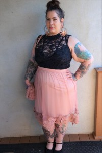 plus size pink lace skirt