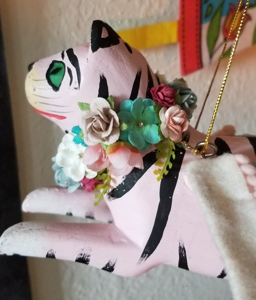 pink tiger with flower wreath