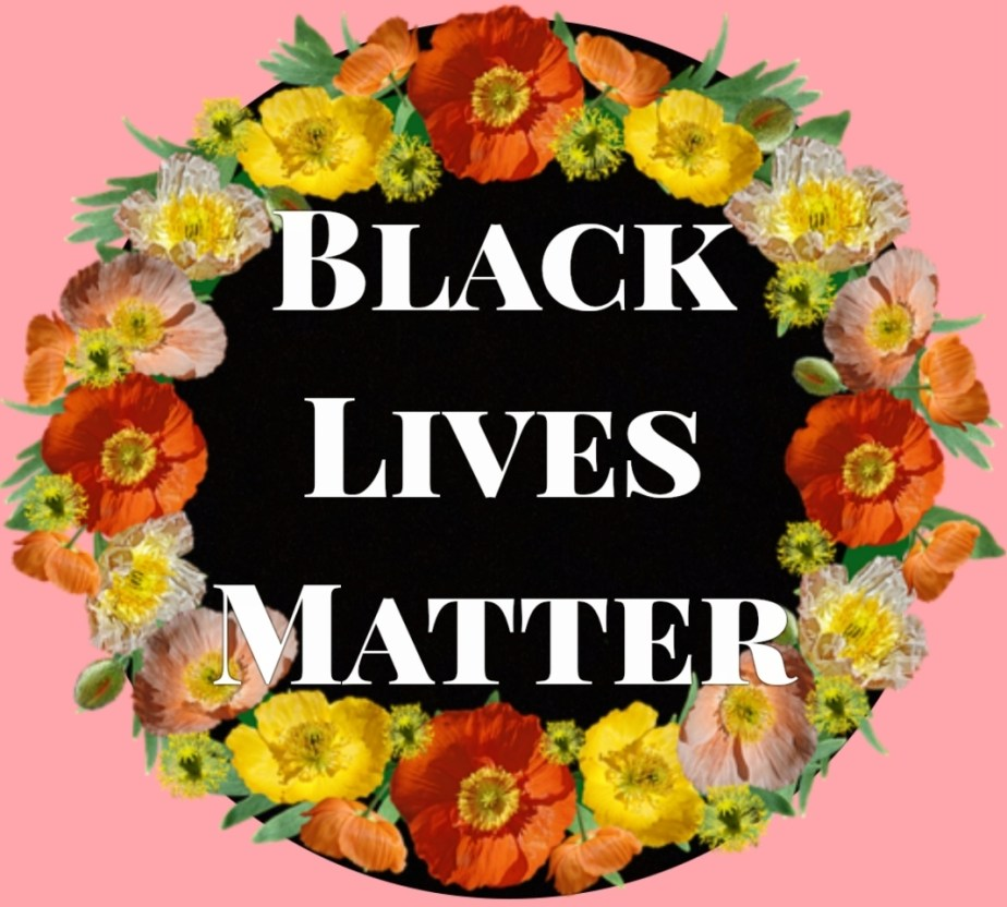 the words black lives matter surrounded by a wreath of flowers