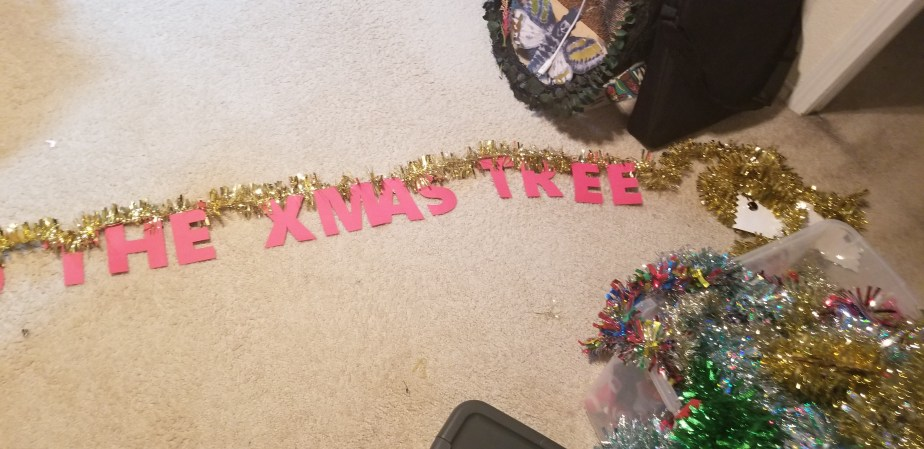 DIY word party banner with tinsel
