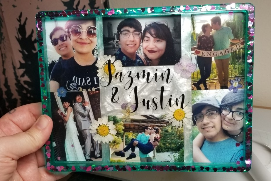 resin photo collage tray with lettering