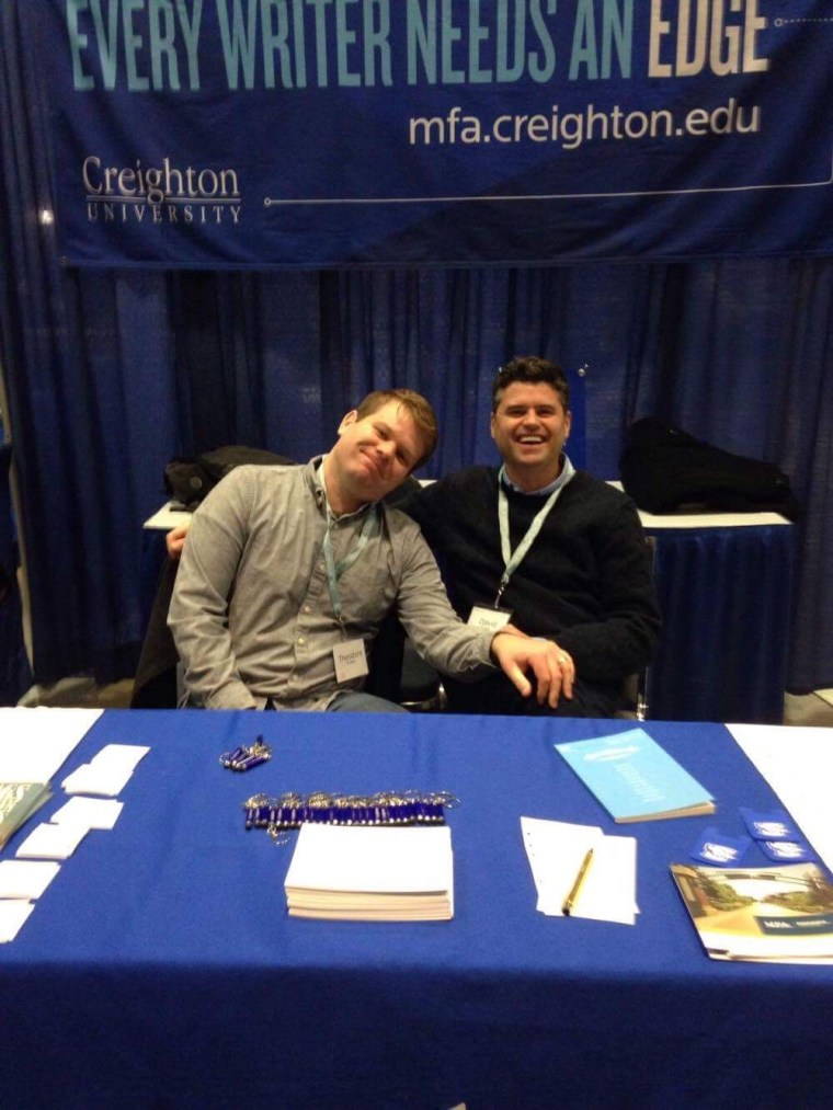Hanging out with Dave Mullins at the Creighton MFA booth.