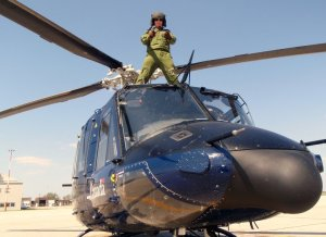 2Lt Steve Barnes on the Outlaw Helicopter