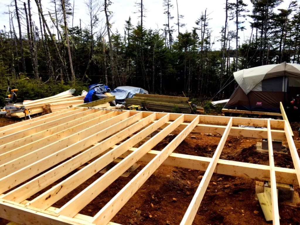 Starting the floor joist for the off grid cabin