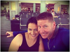 Steve and Mireille at the airport
