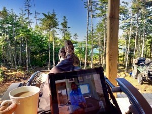 Writing Emails from The Off Grid Cabin Front Deck