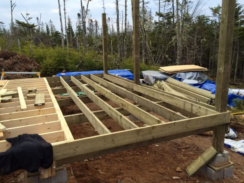 Cabin front deck subfloor framing 3