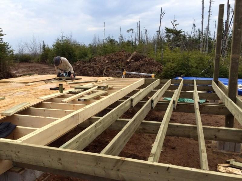 Cabin front deck subfloor framing 4
