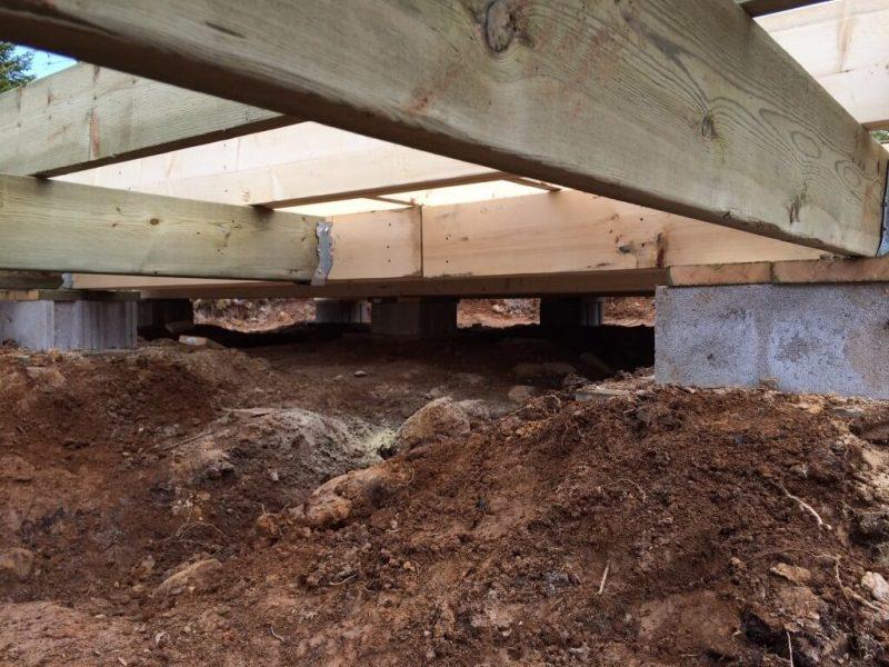 Cabin front deck subfloor framing with joist hangars 2