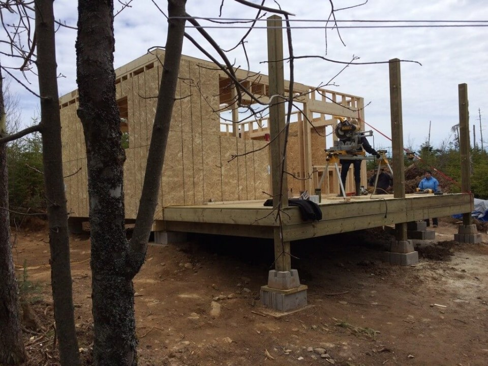 Framing The Walls Front Wall Exterior Sheathing almost complete