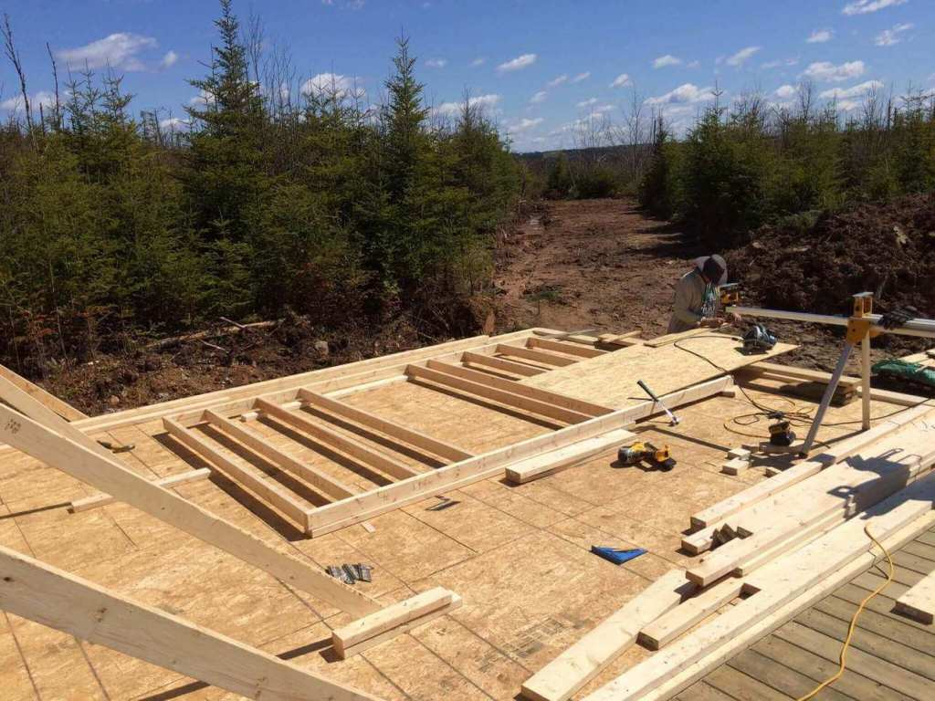 Framing-the-Off-grid-Cabin-Second-Wall