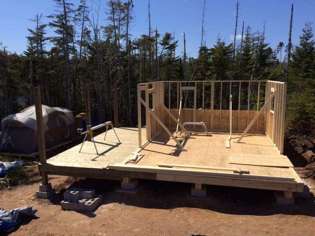 Framing-the-Off-grid-Cabin-Third-Wall-End-of-day