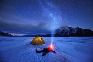 LuxoLight LED Headlamp Flashlight with Red Led Light Winter on the Lake