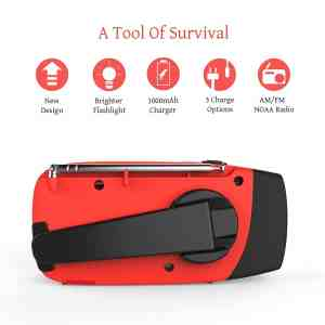 RunningSnail Emergency Hand Crank Self Powered AMFM NOAA Solar Weather Radio with LED Flashlight 2