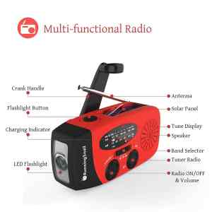 RunningSnail Emergency Hand Crank Self Powered AMFM NOAA Solar Weather Radio with LED Flashlight 4