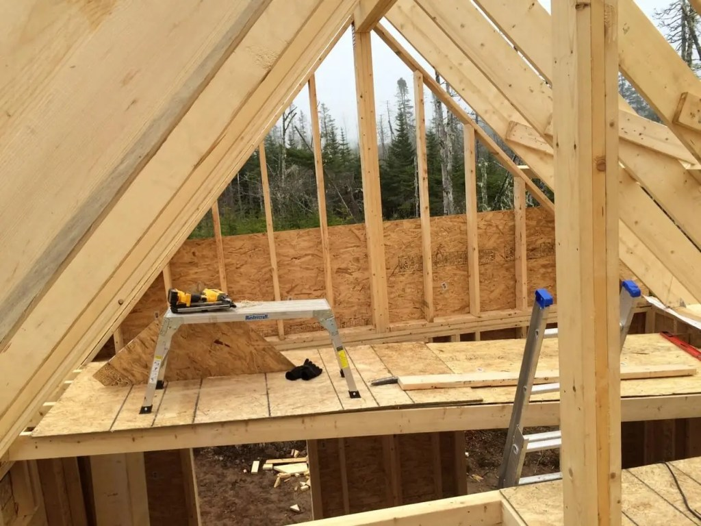The-Off-Grid-Cabin-Gable-End-Framed-with-OSB