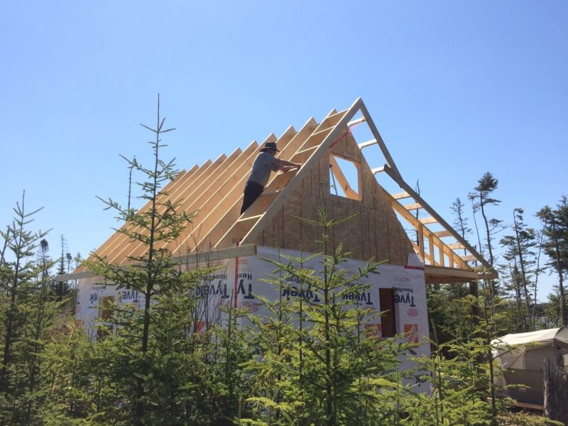 The Off Grid Cabin Rafter Design from the rear