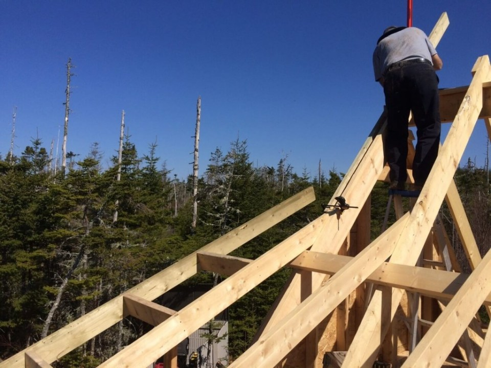 Beginning-The-Off-Grid-Cabin-Roof-Rake-Ladder-Main-Cabin-West-Side