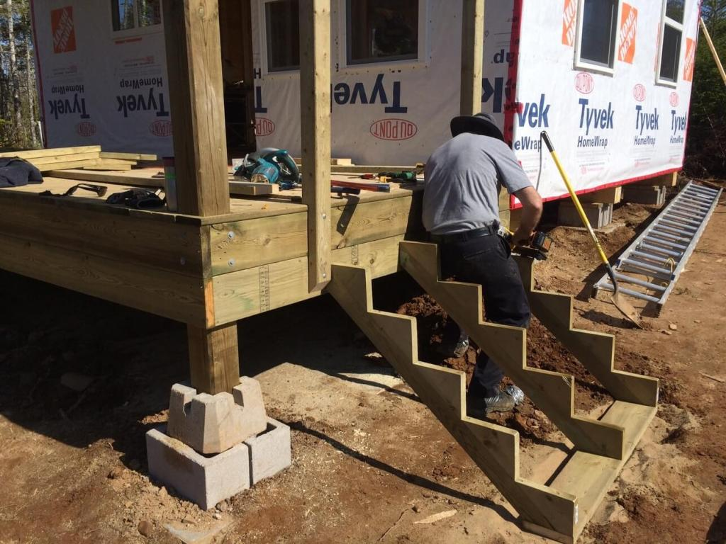 Building The East Side Front Deck Stairs For The Off Grid Cabin