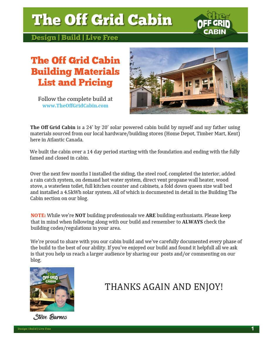 The_Off_Grid_Cabin_Complete_Materials_and_Cost_List Page 1