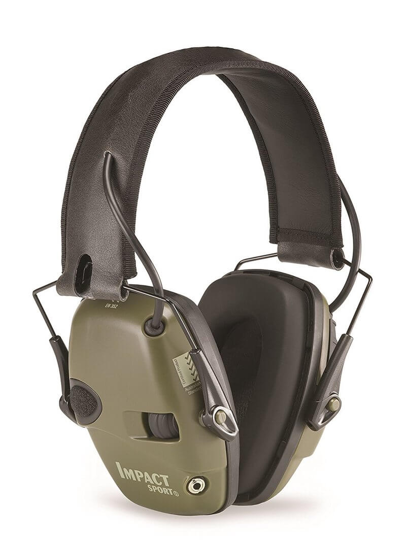 Howard Leight by Honeywell Impact Sport Sound Amplification Electronic Shooting Earmuff, Classic Green