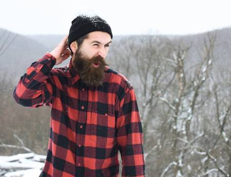 lumberjack scratching head