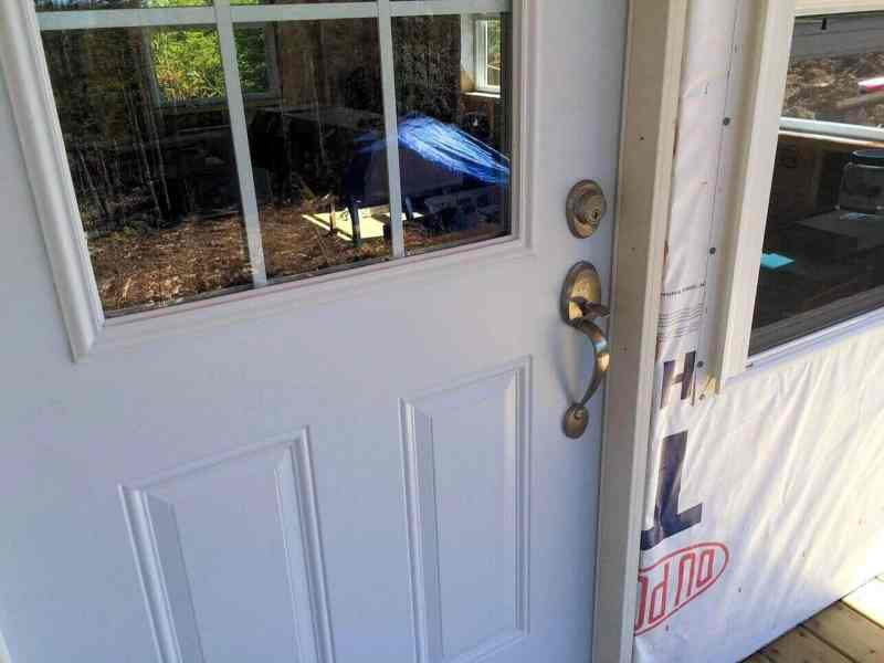 The-Off-Grid-Cabin-Front-Door-Install-Complete-2
