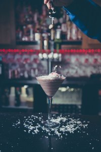 Coconut Dreams Bicerin Di Giandujotto Italian Liqueur, vanilla and whip cream vodka with coconut and a splash a cream. Served up and topped with whip cream, shaved coconut and candy hearts