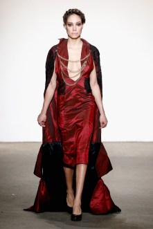 NEW YORK, NY - FEBRUARY 15: A model walks the runway wearing Fine Art Of Fashion at Nolcha shows during New York Fashion Week Women's Fall/Winter 2016 presented by Neogrid at ArtBeam on February 15, 2016 in New York City. (Photo by Brian Ach/Getty Images For Nolcha)
