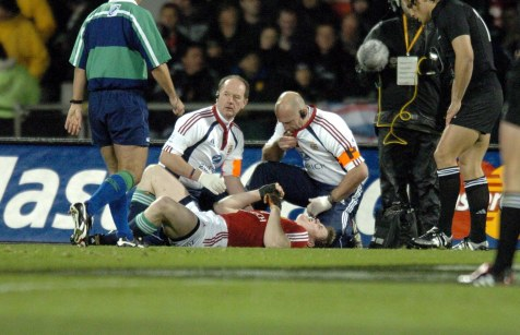 CAPTION: LIONS CAPTAIN BRIAN O'DRISCOLL LIES IN AGONY AFTER HAVING HIS SHOULDER DISLOCATED IN AN INCIDENT WITH TANA UMAGA NEW ZEALAND V BRITISH & IRISH LIONS, 1ST TEST, JADE STADIUM, CHRISTCHURCH, NEW ZEALAND, SATURDAY 25TH JUNE 2005