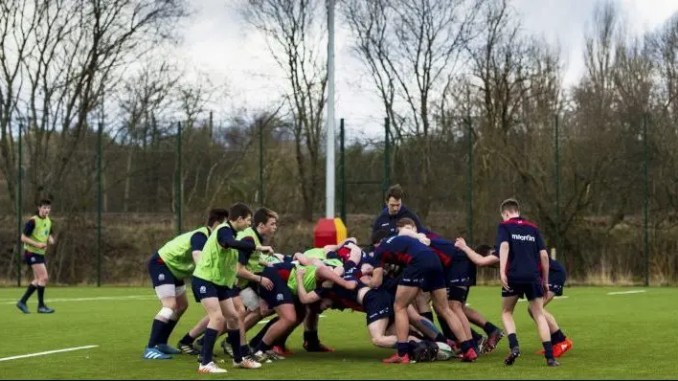 Scrummage practice at the recent Scotland U16 Training Camp at Burnbrae