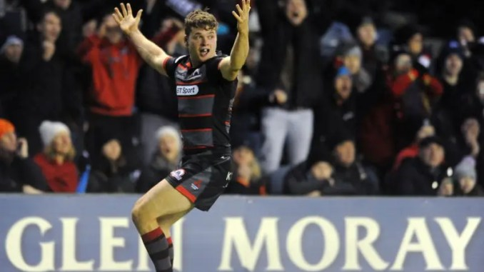 Dean celebrates after touching down in the corner for a dramatic match winning try with just seconds remaining on the clock in December's 1872 Cup clash at Murrayfield ***Image: ©Fotosport/David Gibson***