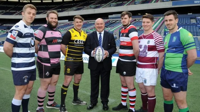 Players from the six successful applicant clubs for the new Super 6 league pose with SRU chief executive Mark Dodson at Murrfayfield yesterday