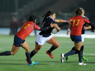 Lisa Thomson in action against Spain.