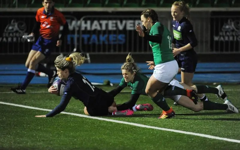 Hannah Smith scores Scotland's only try of the game against Ireland.. Image