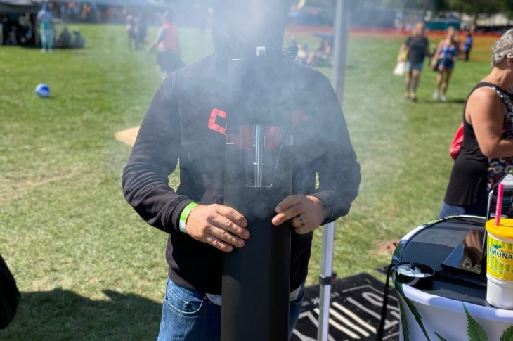 mans head explodes with smoke