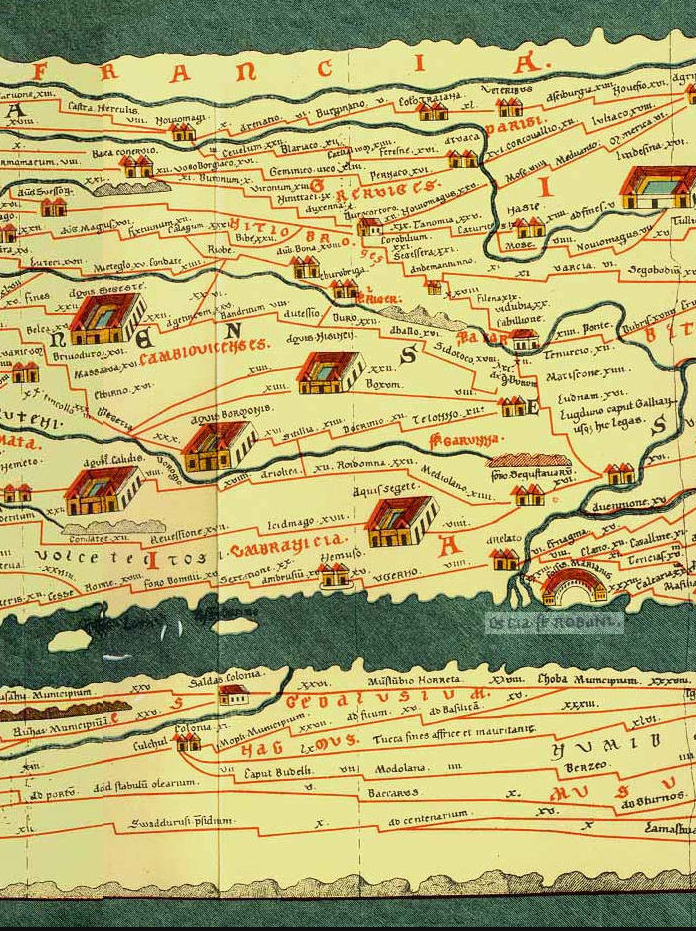 Fossa Marianus [sic] (bottom right, just above the inscription on the river) from the Tabula Peutingeriana, a 13th-century map of the public works of the Roman Empire, possibly a copy of a lost Roman original from the time of Augustus (27 BCE-14 CE)