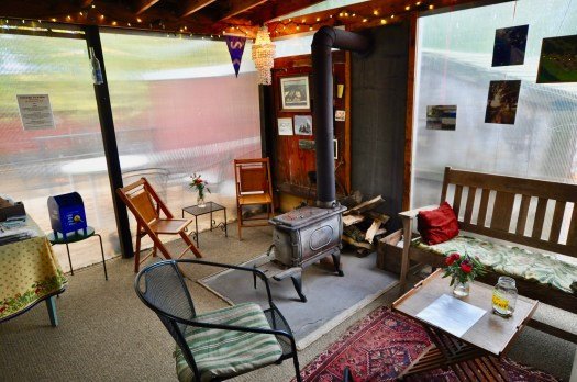 Our tasting barn with sitting areas and an old wood stove.