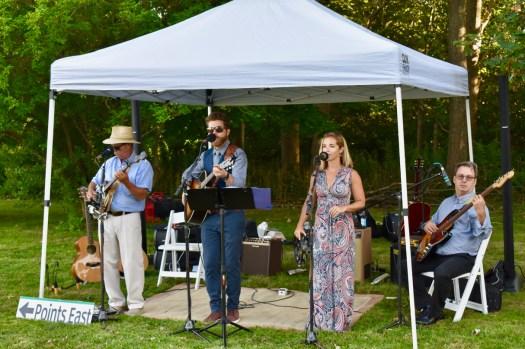 A Bluegrass band playing.
