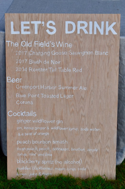 A cocktail board for the bar.