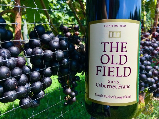 The 2015 Cabernet Franc bottle in front of grapes on the vine