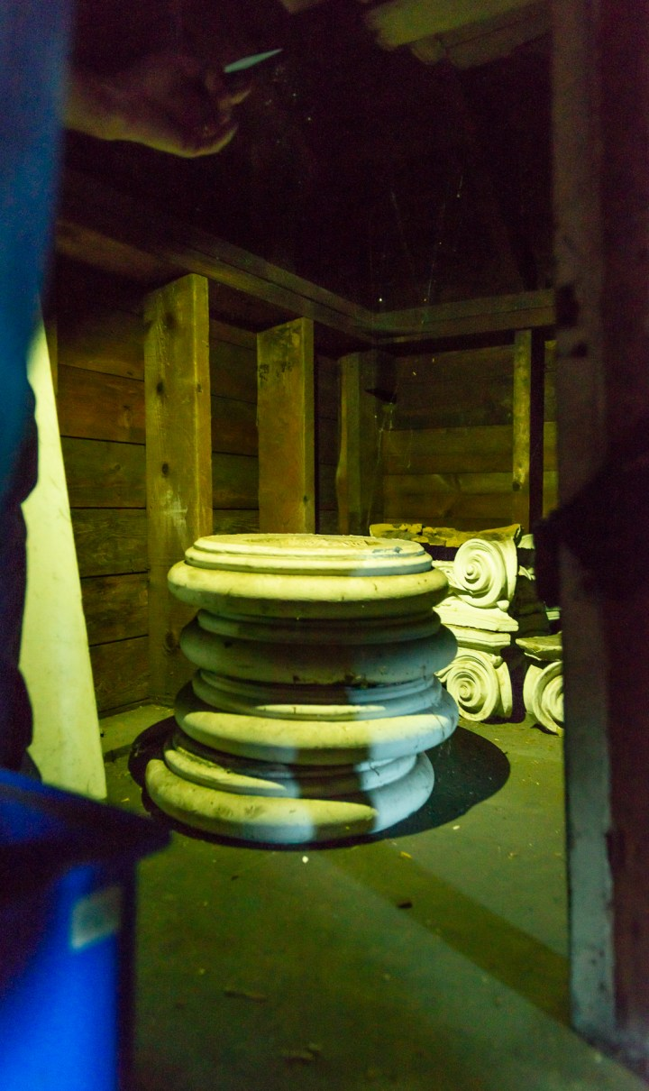 we found original column bases and Iconic Capitals in the garage of the historic American Beauty House in Hinsdale, Il