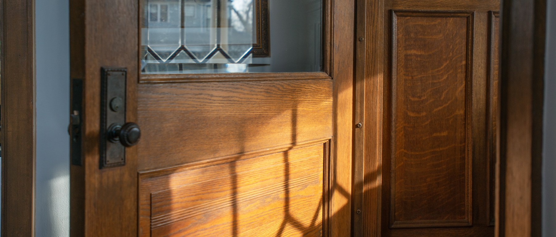 solid oak front door of our historic home in La Grange