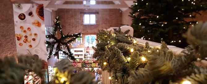 The main food hall at Daylesford Organic beautifully decorated for Christmas