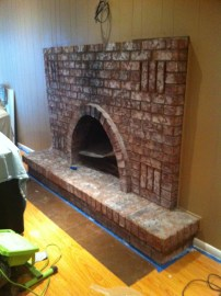 white washed fireplace - after