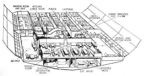 cutaway showing the passenger area of the LZ-130 'Graf Zeppelin II'