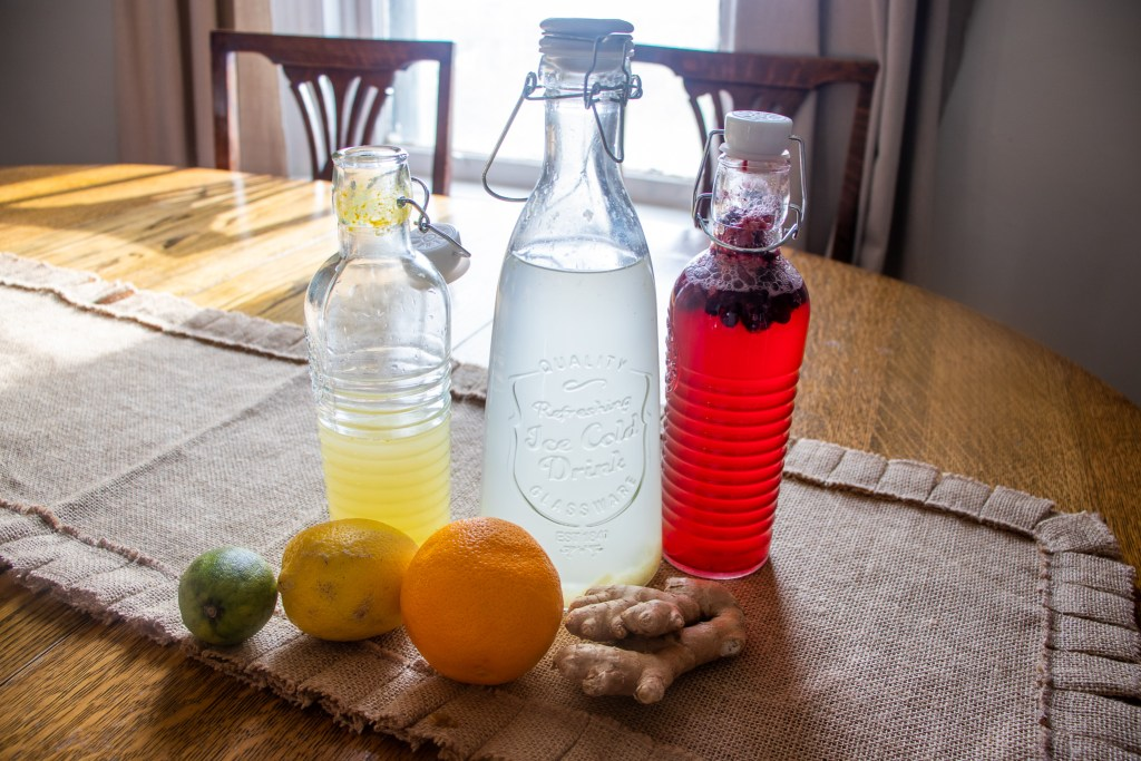 Three bottles of water kefir
