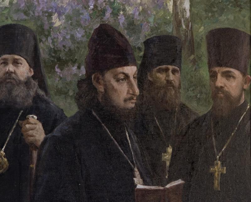 "Pavel Florensky prezentand onoratei asistente referatul ""Dogmatica si Dogmatism"""