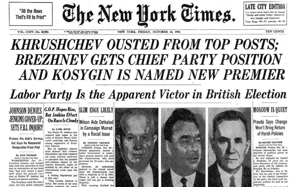 Khruschev Ousted_NYT_16Oct1964