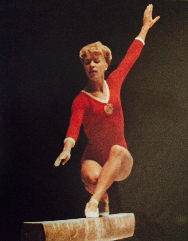 Larisa Latynina in Tokyo on the balance beam.